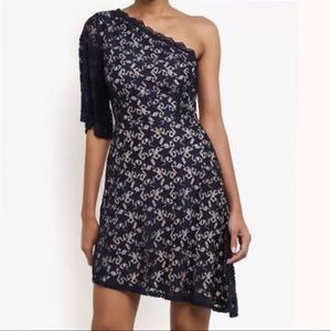 TOPSHOP Star Print Mini Dress, Sz US 8, Blue